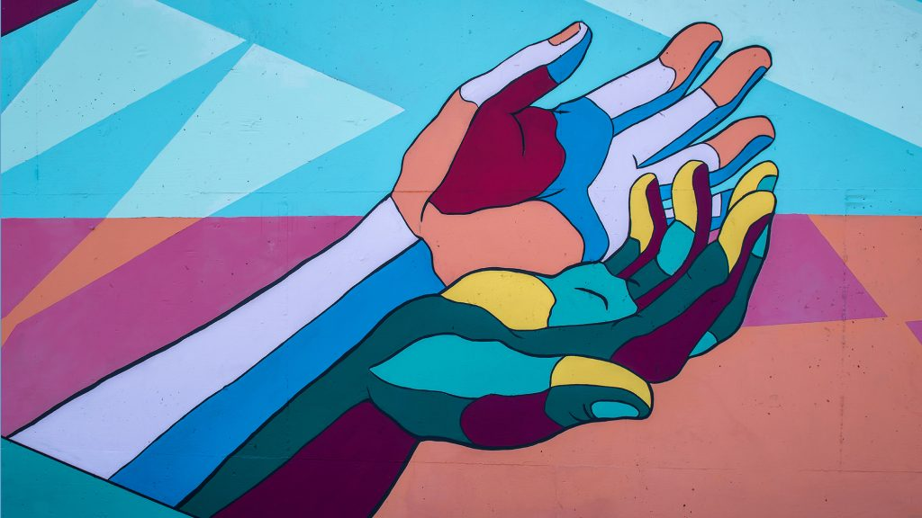 Mural of two colorful hands